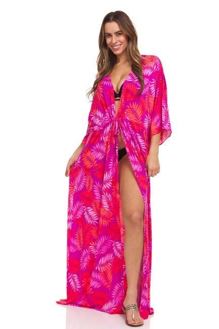 Pink Palm Swim Kimono