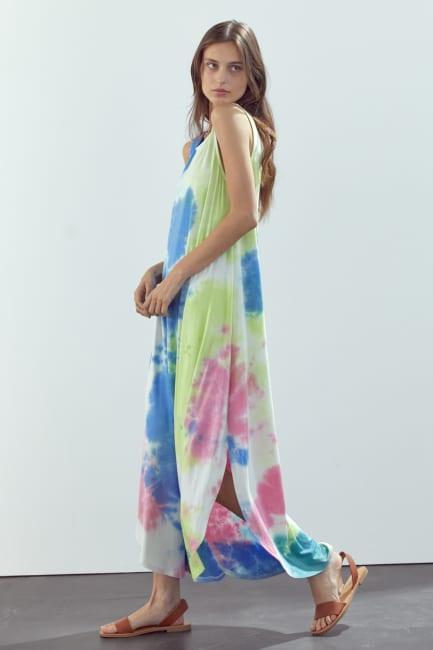 KAII Sleeveless Crew Neck Maxi Dress In Tie Dye Rayon Spandex Jersey