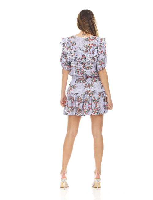 Scarf Patch Print Mini Dress With Short Sleeves