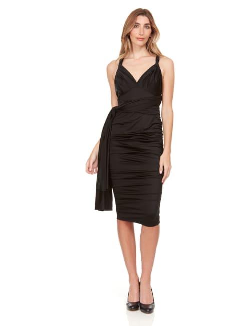 Convertible Solid Color Midi Dress