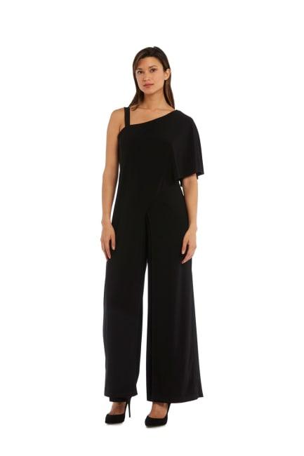 Black Overlay Draped Sleeve Jumpsuit