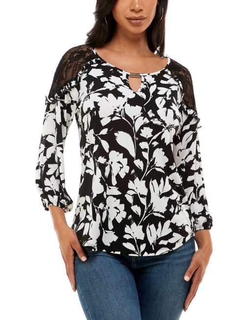 Adrienne Vittadini Three Quarter Sleeve With Lace Cold Shoulder Top