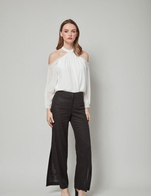 Dora Landa Linen Cotton Blend Pant With Side Seam Open Slit