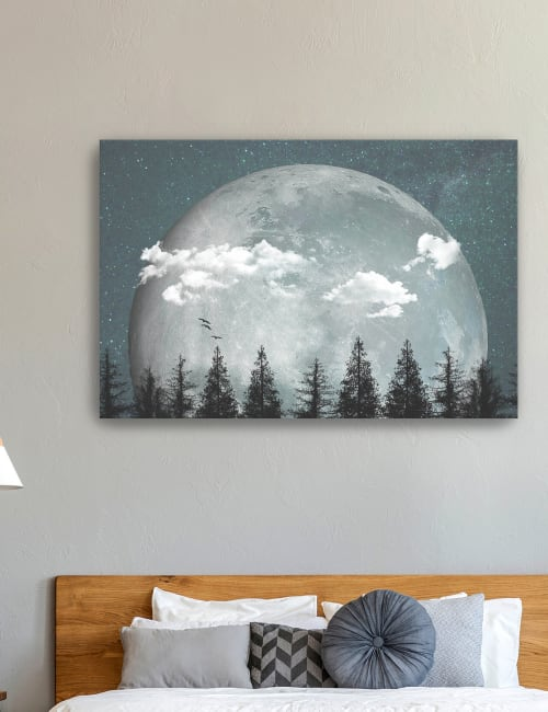 Big Moon Over Forest Canvas Giclee