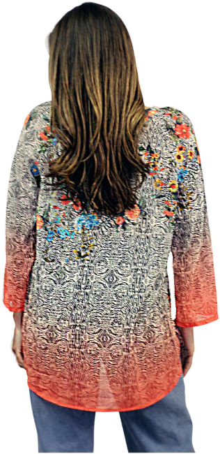 Sienna Rose Vibrant Placed Print Blouse