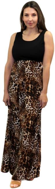 Sienna Rose Graceful Animal Mix Media Maxi Dress