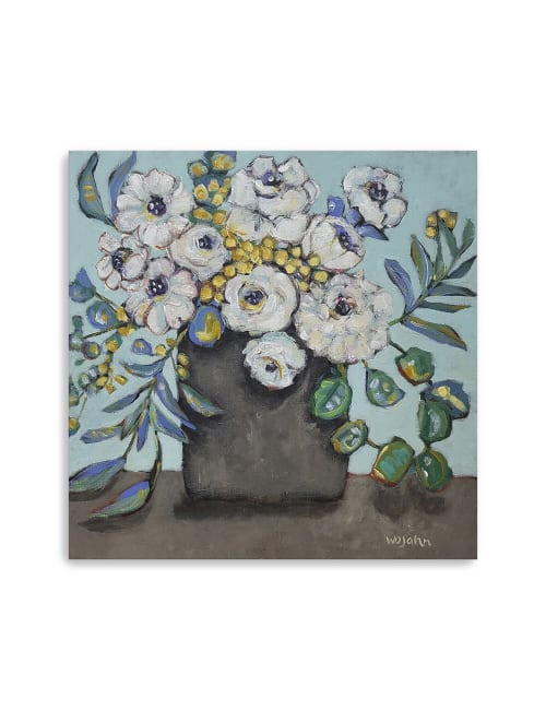White Flowers Canvas Giclee