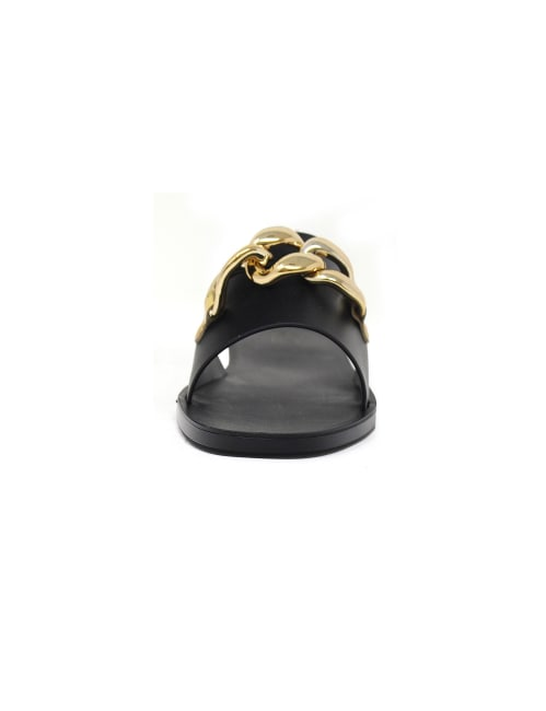 Flat Jelly Open Toe Sandal With Chain Upper