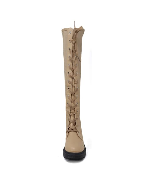 Women's High Top Elastic Stretchy Lace Up Knee High Boot