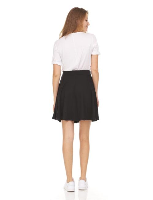 Solid Skater Flared Skirter Skirt