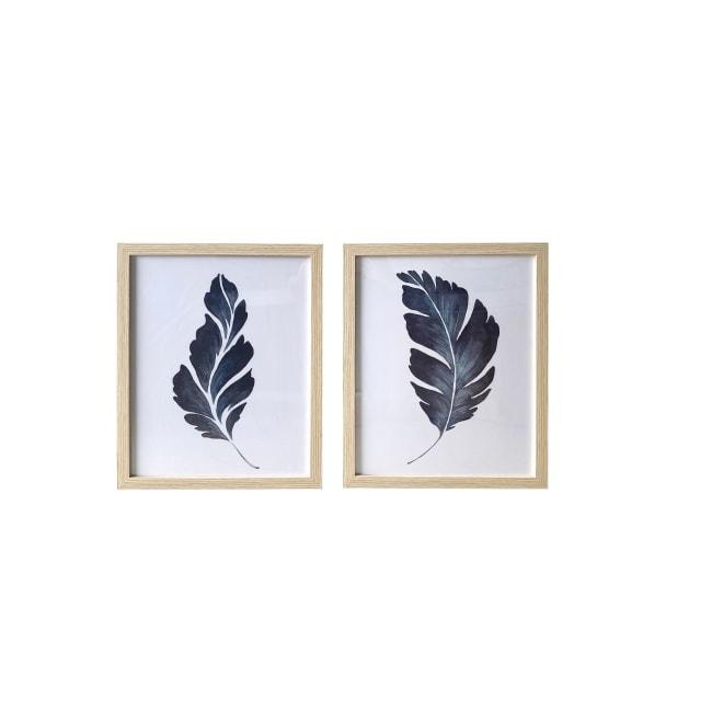 Dark Blue Leaves Framed 16x20 Set of 2