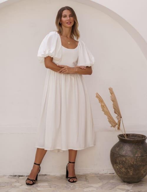 Cherie Fields Puff Sleeve Midi Dress