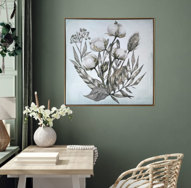 Cotton Branch Floating Canvas 29x29