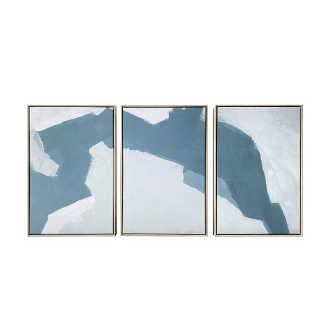Abstract Painting Triptych Floating Canvas 48x24