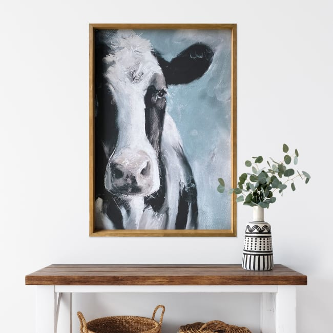 Staring Cow Wood Framed Canvas 24x36