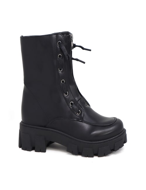 Lace Up Zipper Military Rugged Boot
