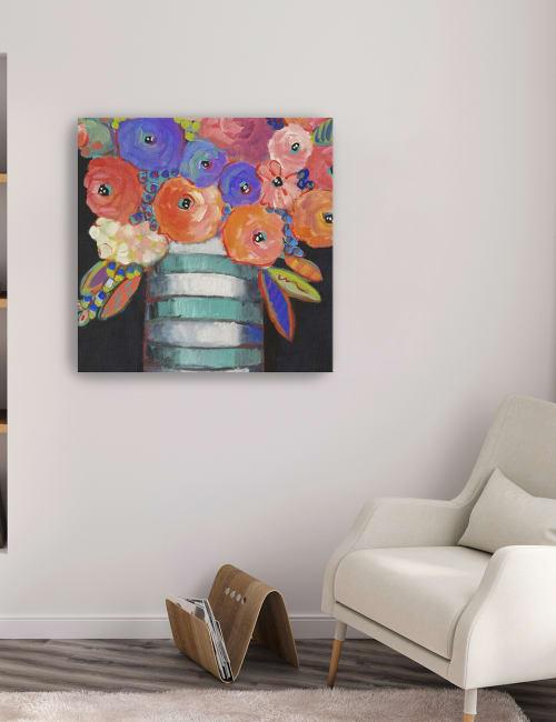 Orange, Purple, and Stripes Canvas Giclee