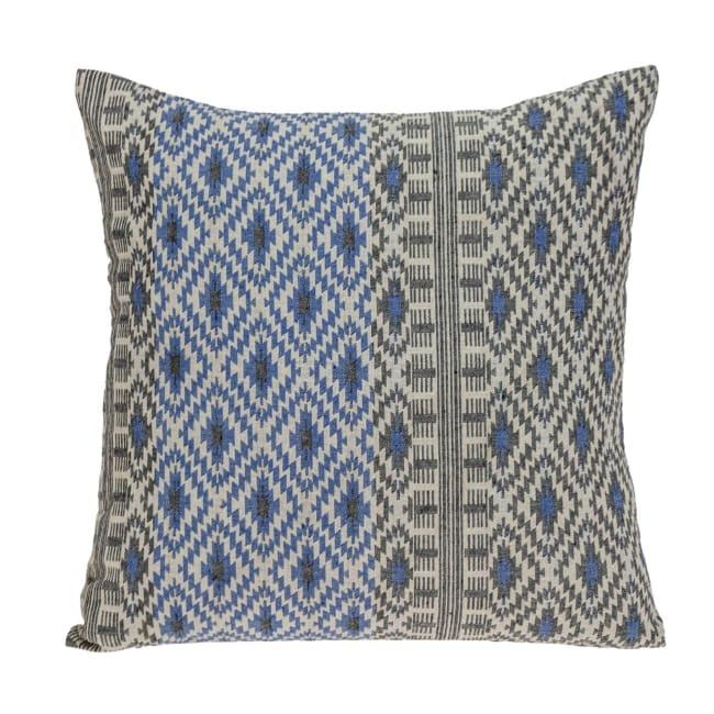 Gray and Blue Aztec Diamond Throw Pillow