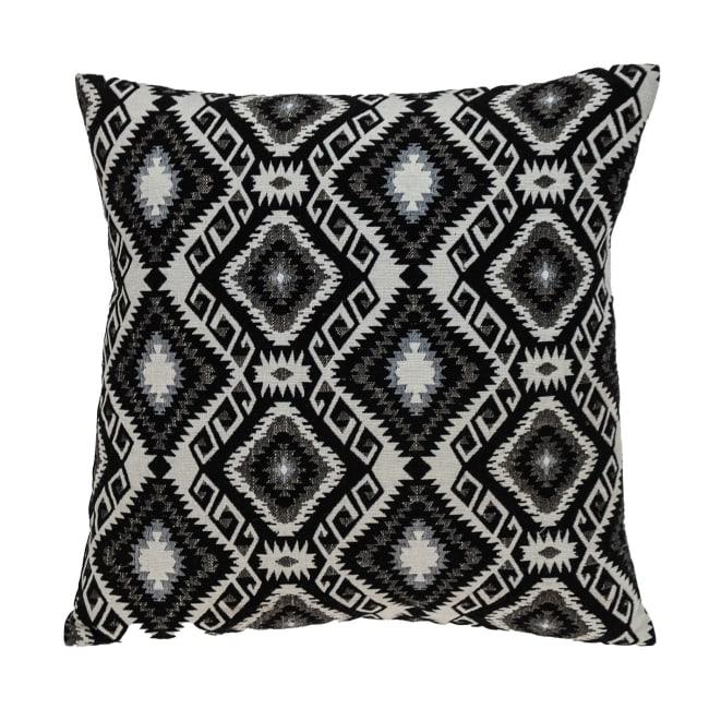 Jet Black and White Geo Throw Pillow