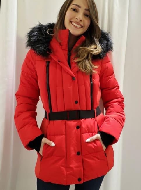 Michael Kors Faux Fur Belted Puffer Jacket