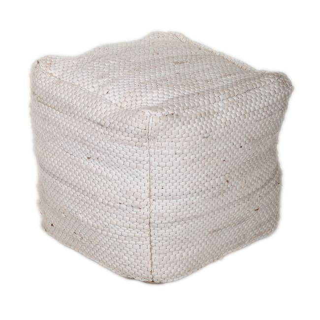 Chic Chunky White Textured Pouf