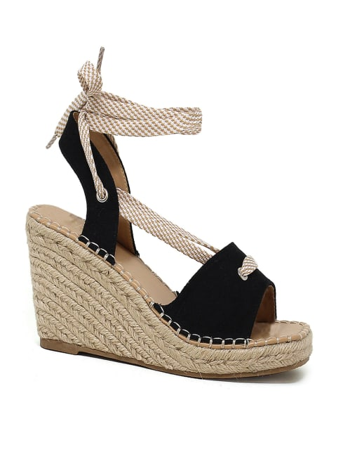 Espadrille Wedge Sandals With Upper Lace Straps