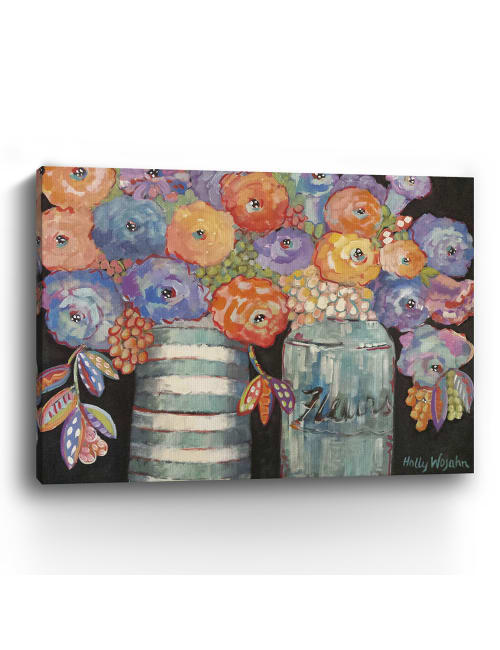Two Aqua Vases of Flowers Canvas Giclee