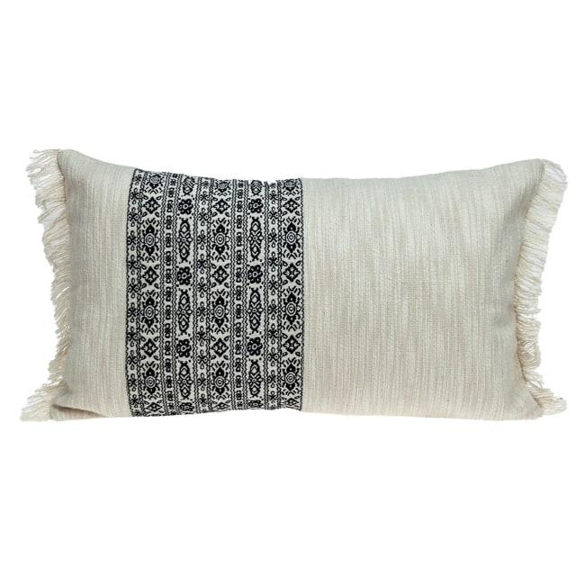 Black and White Geometric Fringe Throw Pillow