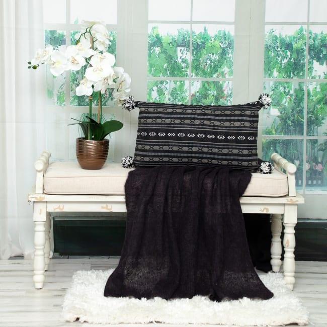 Black and Gray X Pom Throw Pillow