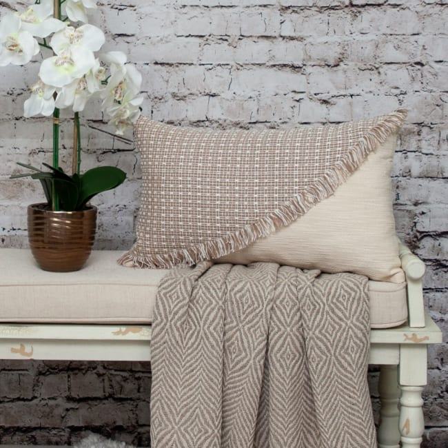 Sandy Beige Textured Throw Pillow
