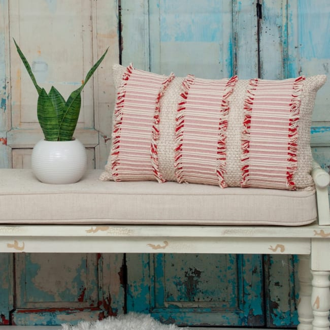 Boho Beige and Pink Throw Pillow