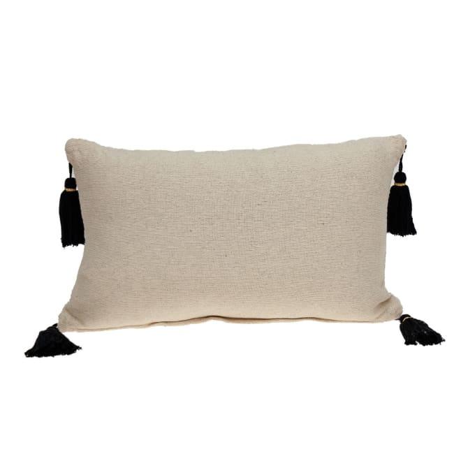 Black and Cream Vertical Stripe Lumbar Pillow