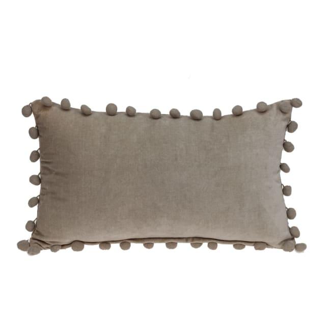 Taupe Pom Pom Lumbar Throw Pillow