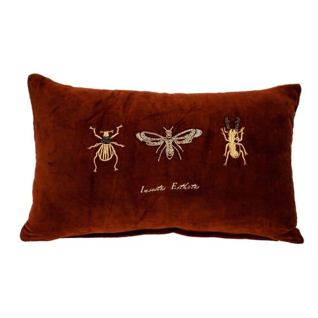 Golden Insects Velvet Throw Pillow