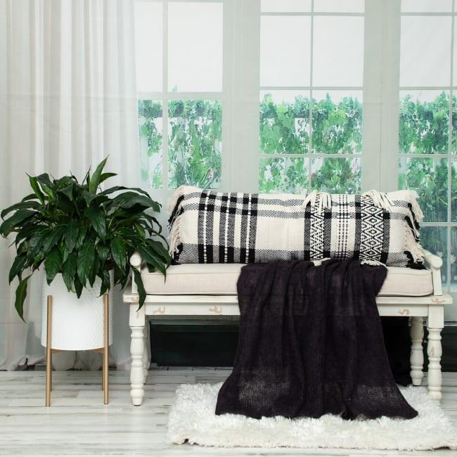 Black and White Geo Long Lumbar Throw Pillow