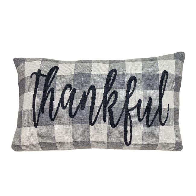 Thankful Buffalo Plaid Lumbar Throw Pillow