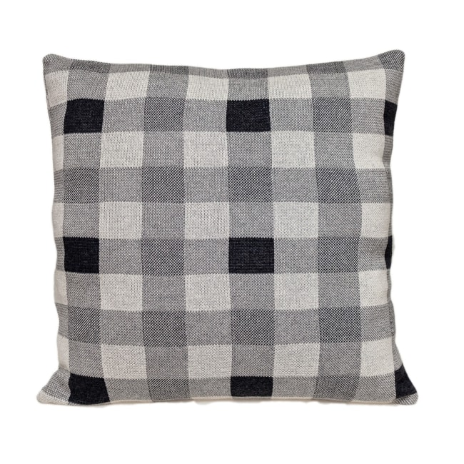 Lead Grey Checkered Pillow