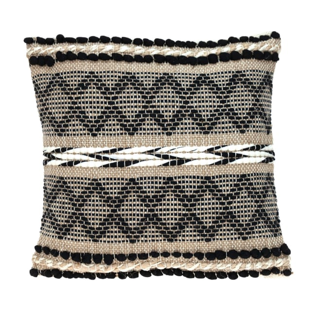 Black and Sand Woven Decorative Pillow