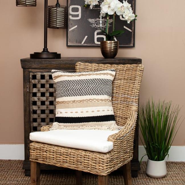 Black White and Tan Textured Pillow