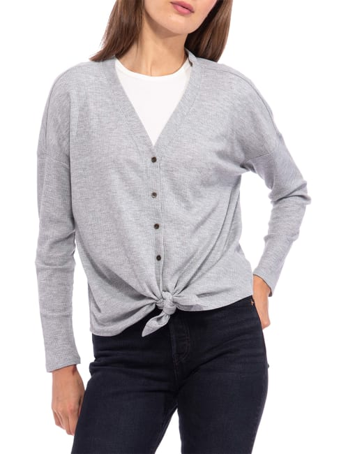 Button Down Tie Front Long Sleeve Top