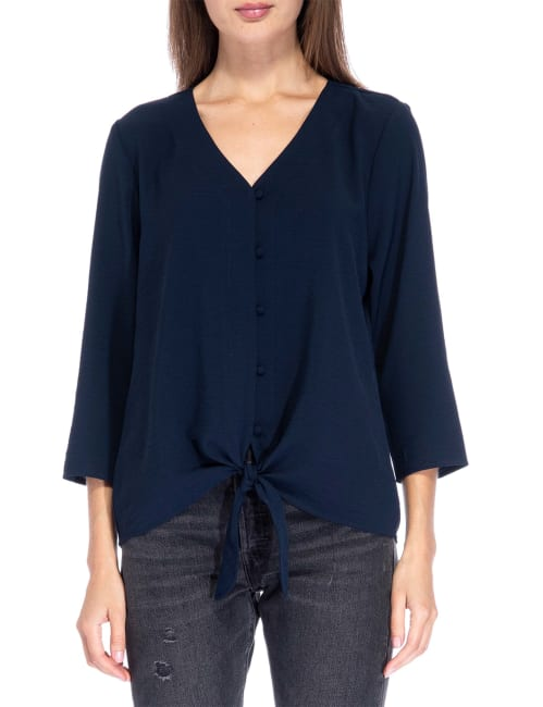 Lucille 3/4 Sleeve Tie Front Woven Top