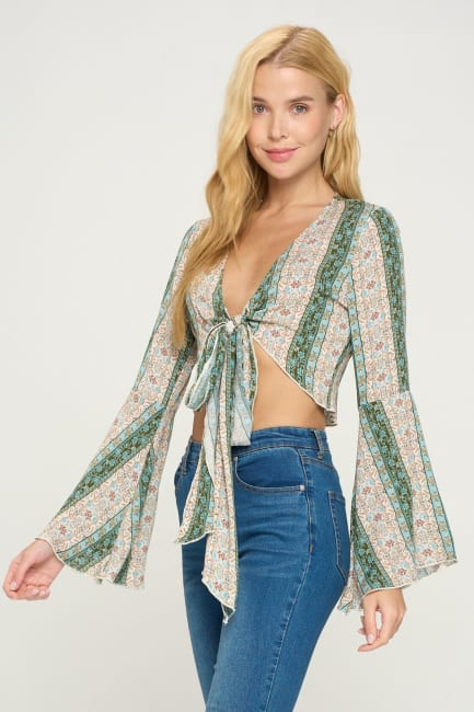 Tie Front Bell Sleeve Crop Cardigan Fashion Top
