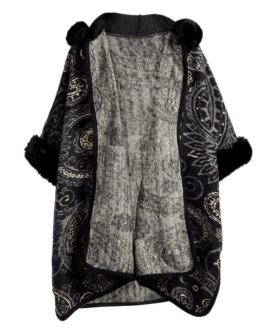 Faux Fur Hooded Outerwear Winter Cape