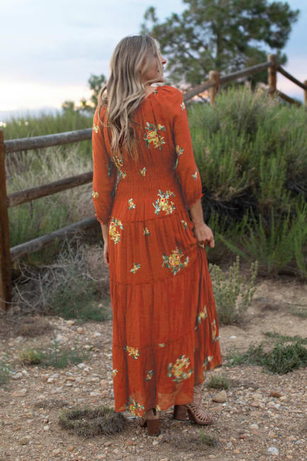 Veronica Embroidered Terracotta Peasant Dress-Missy