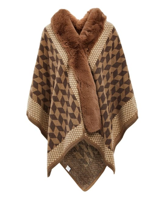 Hooded Faux Fur Winter Fall Outerwear Cape