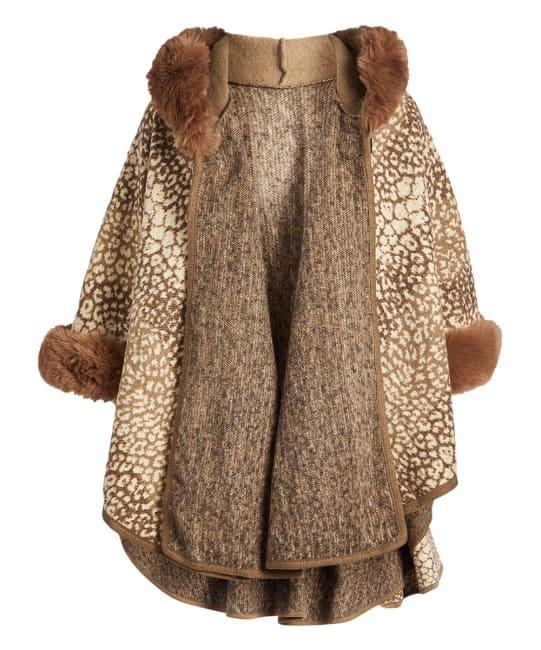 Winter Faux Fur Hooded Cape Shawl Wraps