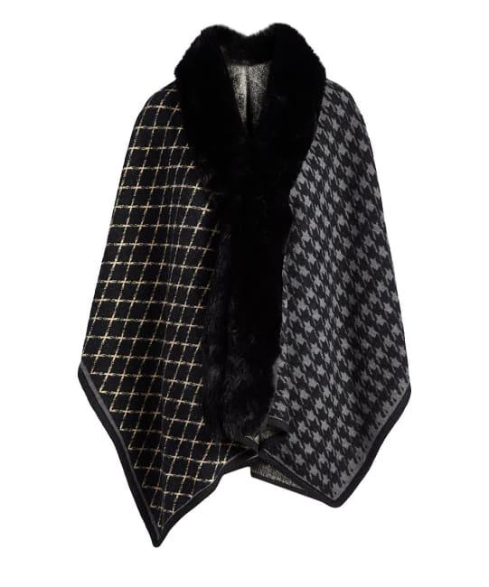 Winter Wrap Hooded Faux Fur Cape