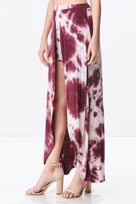 Front Open Tie Dye Rayon Spandex Maxi Skirt