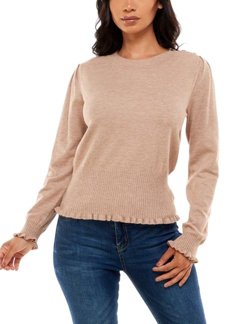Madison & Hudson Ruffle Detail Puff Sleeve Sweater