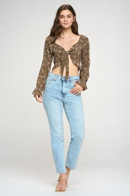 Tie Front Long Sleeve Crop Ditsy Floral Cardigan